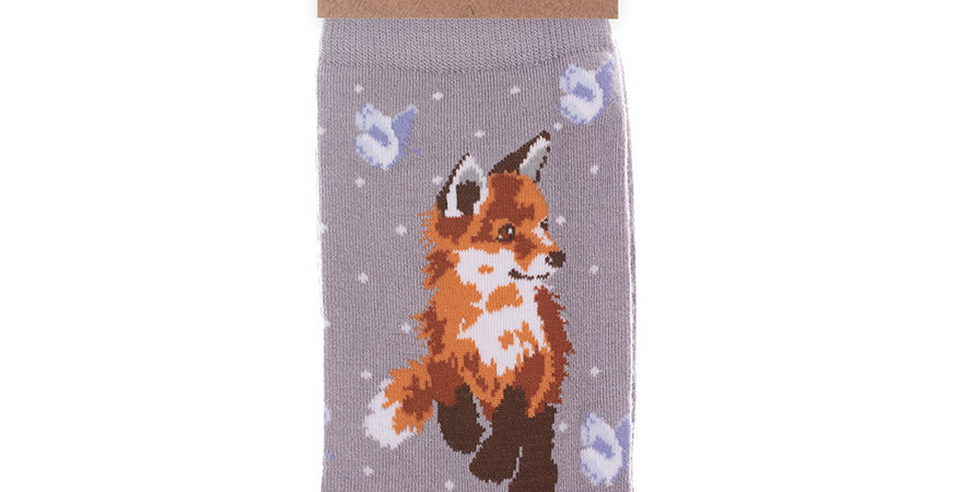 Wrendale Born To Be Wild Fox Bamboo Socks and Gift Bag