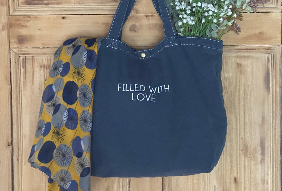 Embroidered Filled With Love Bag