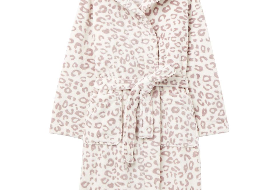 Joules Rita Dressing Gown Grey Leopard
