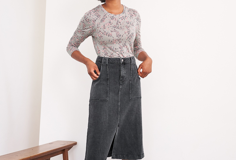 White Stuff Ulla Black Denim Skirt