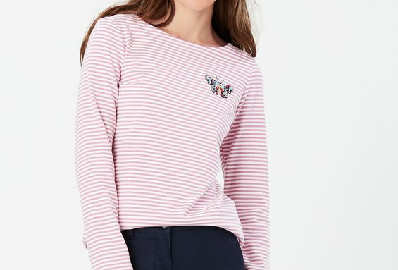Joules Harbour Print Embroidered Butterfly Long Sleeve