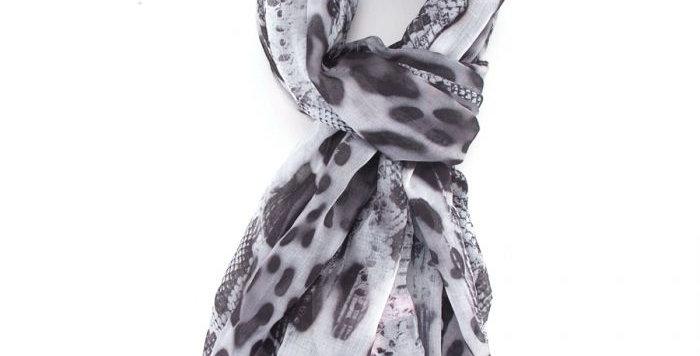 Miss Sparrow Scarf Grey Animal Design
