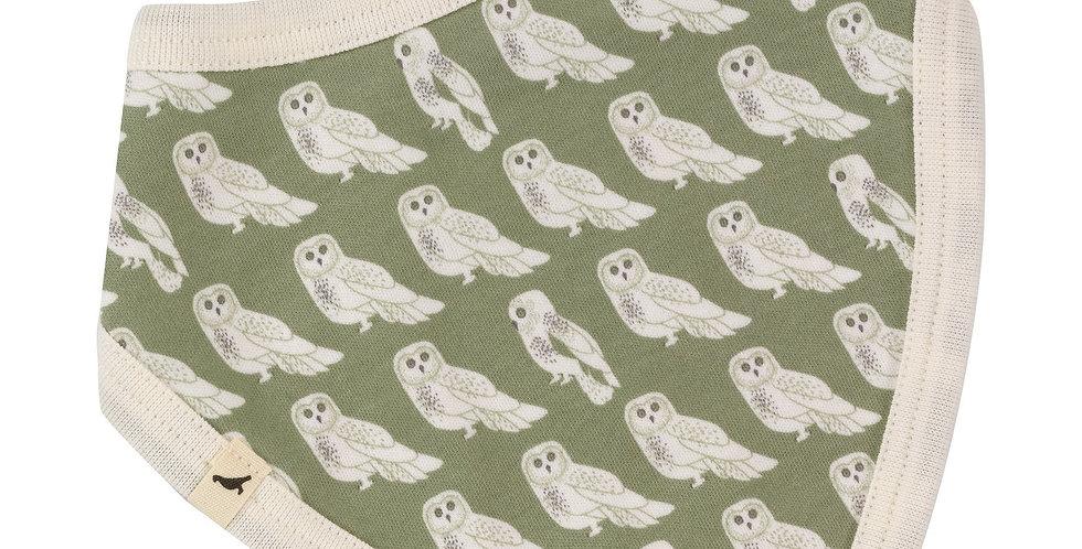 Pigeon Organics  Sage Green Owl/Stripe Reversible Bandana Bib