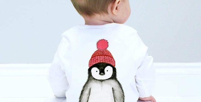 Sparks and Daughters Penguin Baby Sleepsuit