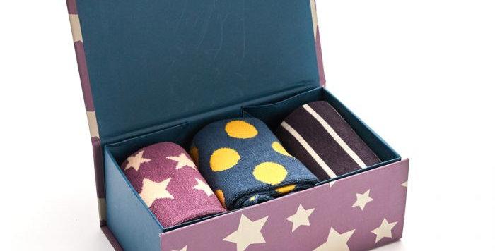 Miss Sparrow Star Spot and stripe Sox Box