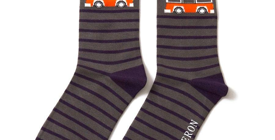 Mr Heron Camper Van Grey Stripe Socks