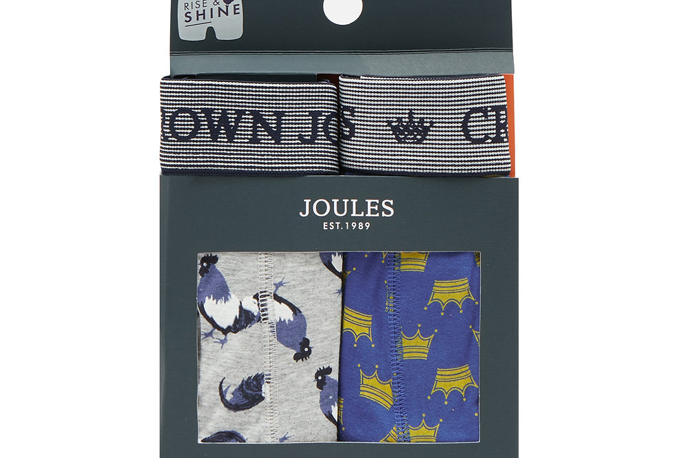 Joules Mens Pack of 2 Boxers Rise and Shine