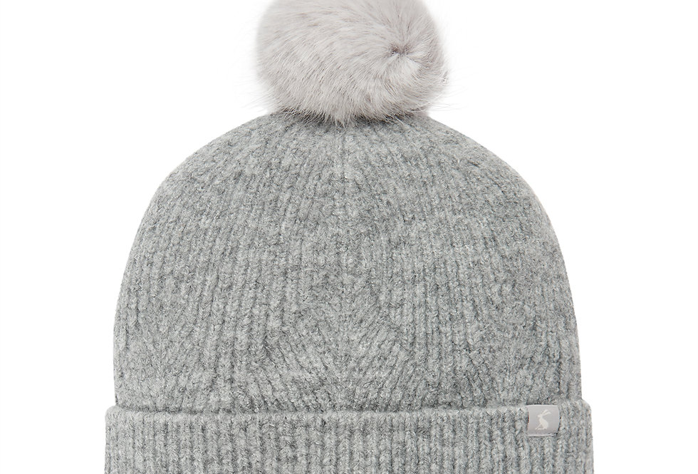 Joules Thurley Grey Marl  Bobble Hat