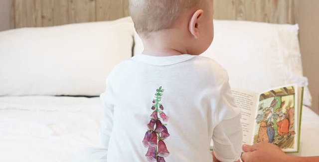 Foxglove Watercolour Baby Sleepsuit