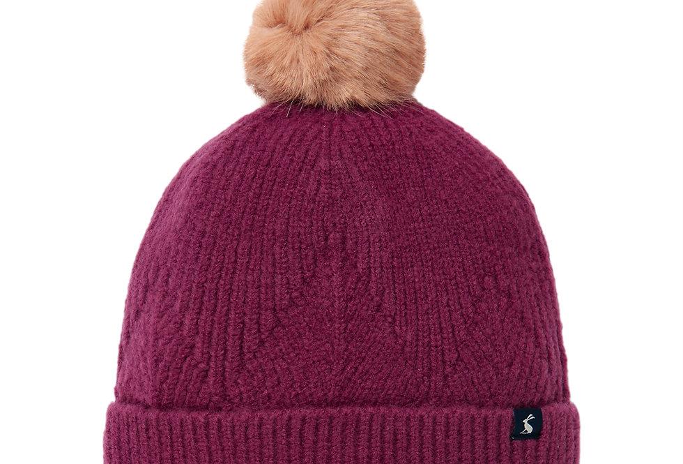 Joules Thurley Plum Bobble Hat
