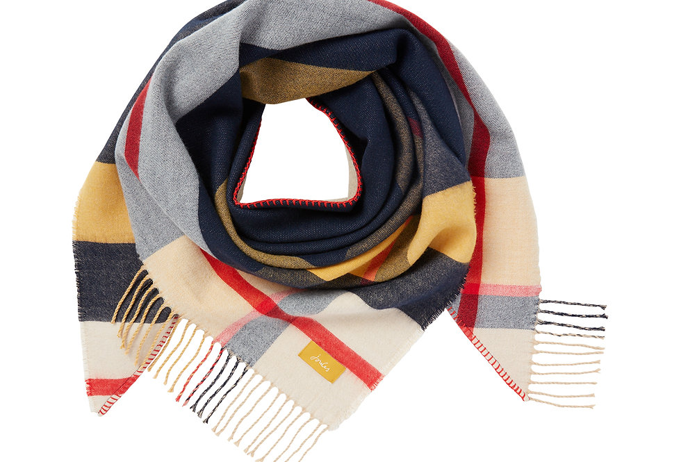 Joules Wilstow Navy Gold Check Scarf
