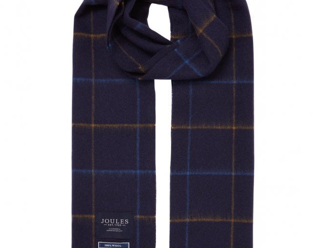 Joules Tytherton Navy Yellow Check  Scarf