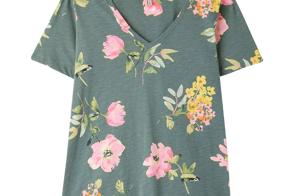 Joules Celina Print T Shirt Green Floral