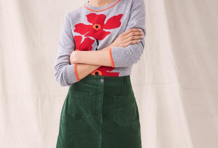 White Stuff Melody Mid Green Cord Skirt