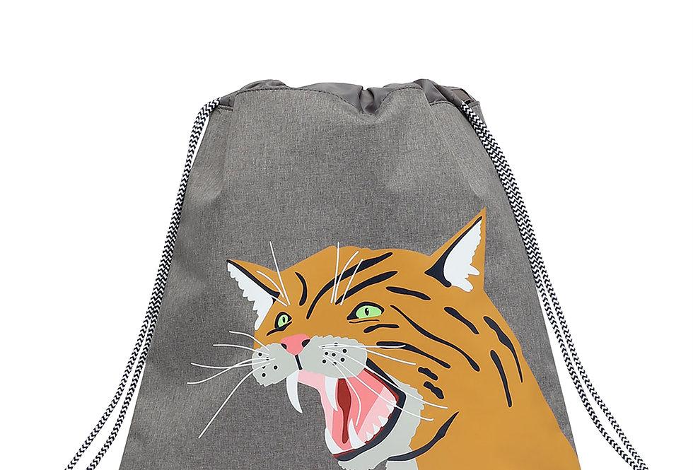 Joules Active Drawstring Bag Grey Wild Cat