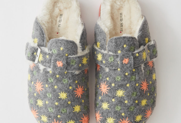 White Stuff Star Embroidered Closed  Slippers