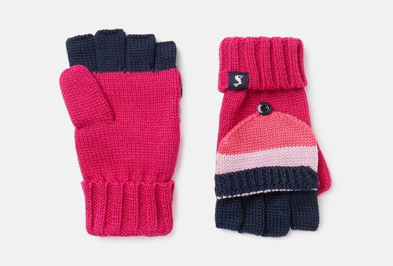 Joules Bobble Gloves Pink and Navy