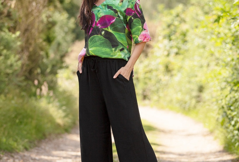From My Mothers Garden Black Linen Trousers