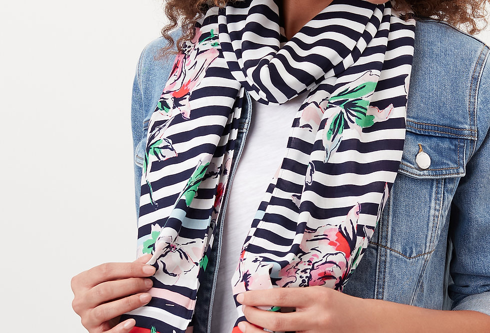 Joules Conway Scarf Blue Stripe Floral