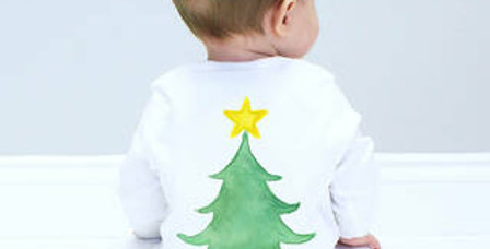 Sparks and Daughters Christmas Tree Baby Sleepsuit