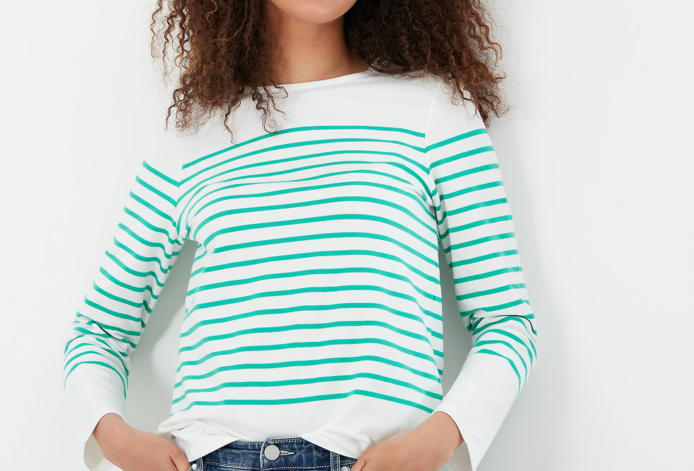 Joules Seacombe Cream and Green Stripe