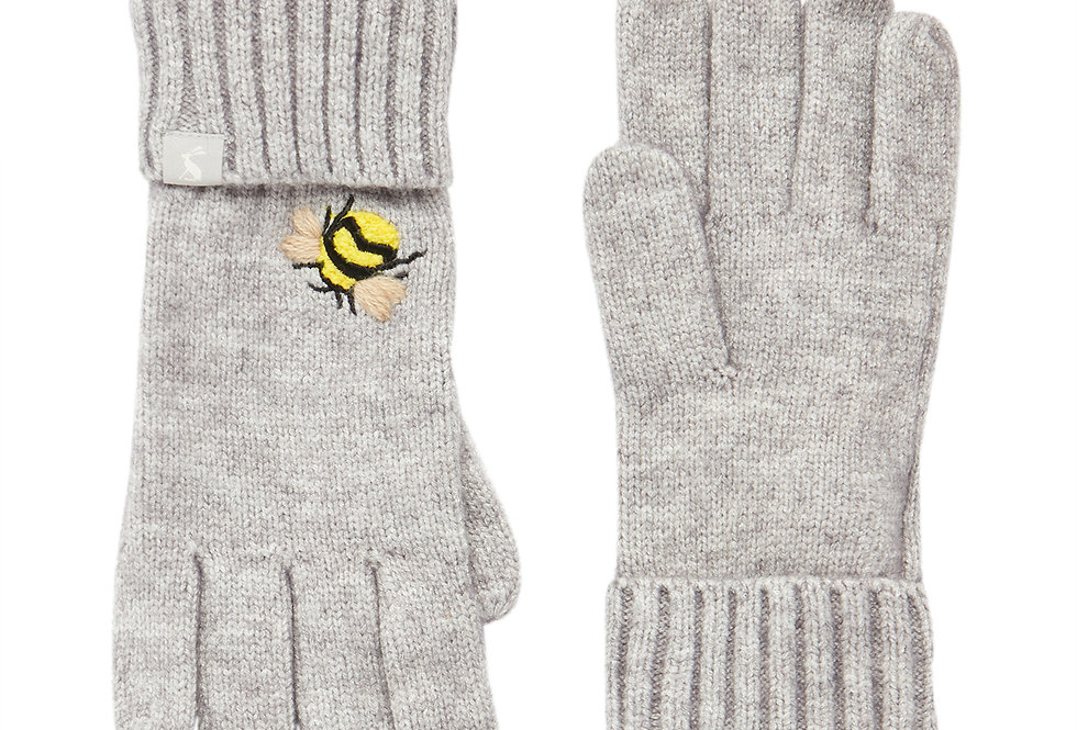 Joules Grey Embroidered Bee Gloves