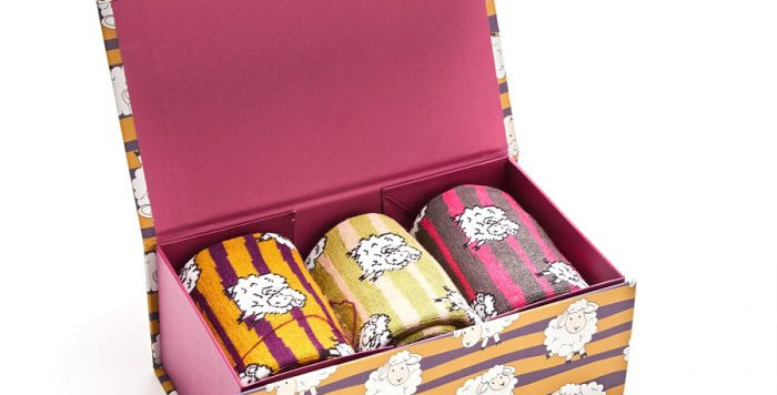 Miss Sparrow Sheep and Stripes Sock Box