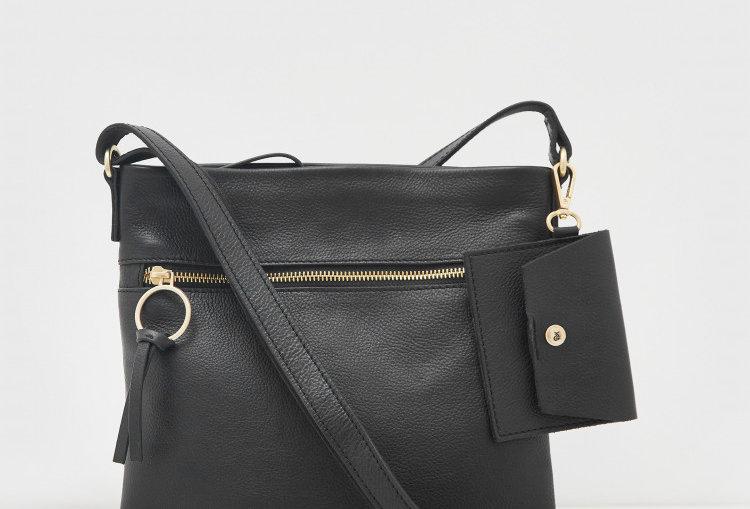 White Stuff Lottie Leather Crossbody bag Pure Black