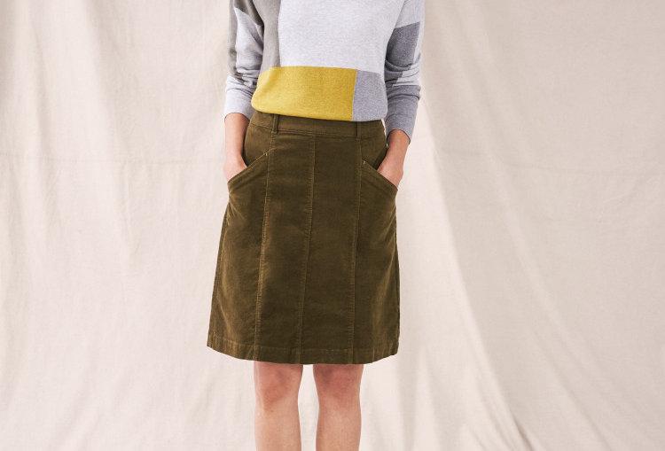White Stuff Josie Khaki Green Skirt