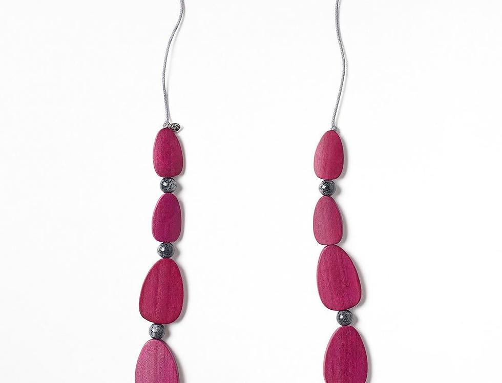 White Stuff Karas Wood Necklace Pink
