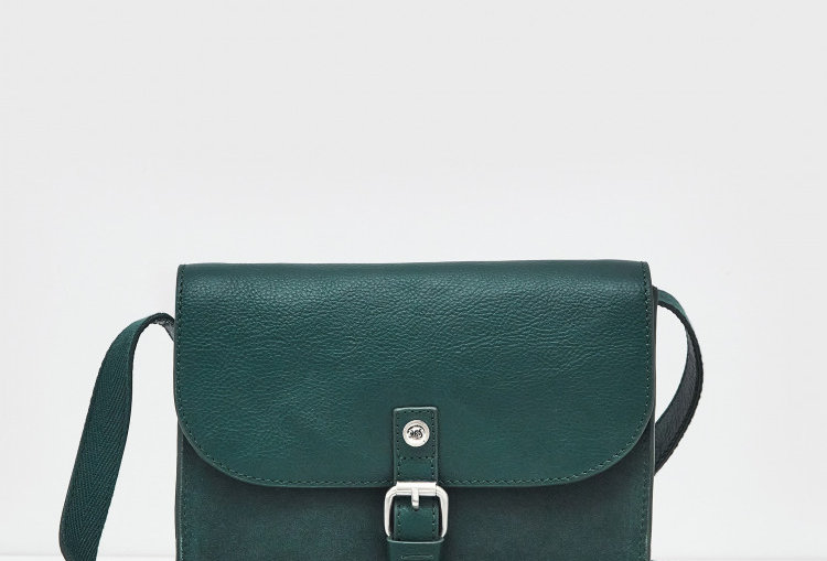 White Stuff Eve Buckle Leather Satchel Teal