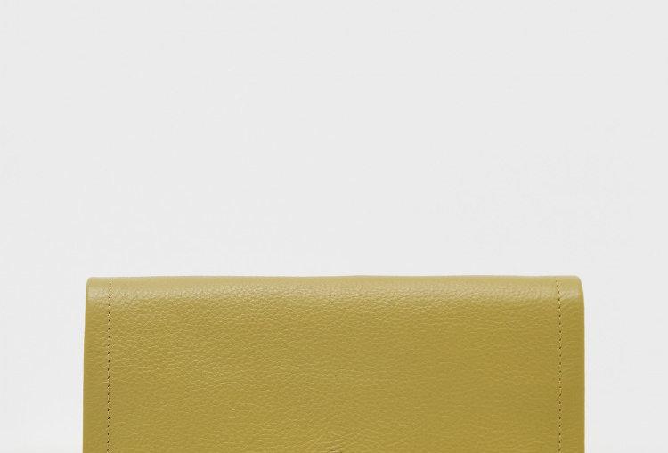 White Stuff Lottie Leather Purse Mid Chartreuse