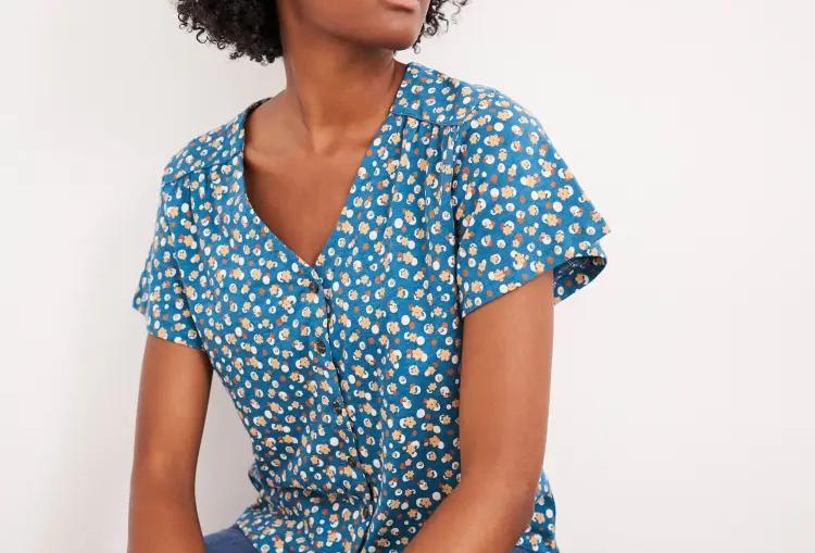White Stuff Button Through Textured Blouse