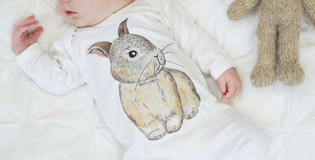 Baby Bunny Watercolour  Sleepsuit