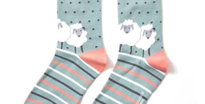 Miss Sparrow Sheep Aqua Bamboo Socks