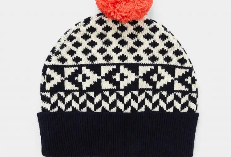 White Stuff Geometric Fairisle Bobble Hat