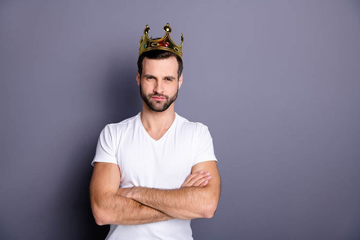 portrait of an arrogant young man with a crown