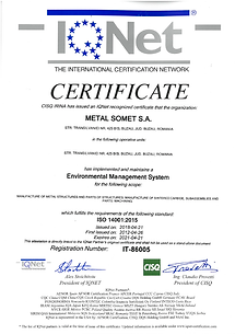 Certificat ISO 14001 IQNET  2018÷2021