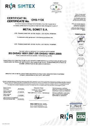 Certificat OHSAS 18001  2018÷2021