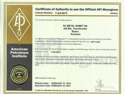 Certificat API  11AX-0072   2018÷2021