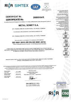 Certificat ISO 9001 2016÷2019
