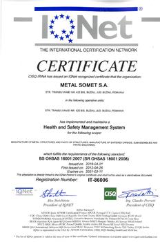 Certificat OHSAS 18001 IQNET  2018÷2021