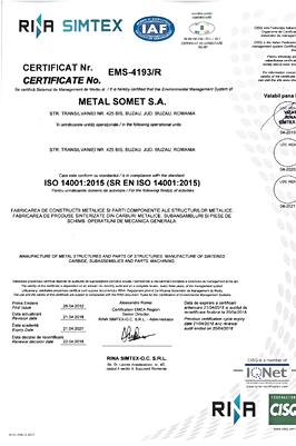 Certificat ISO 14001   2018÷2021