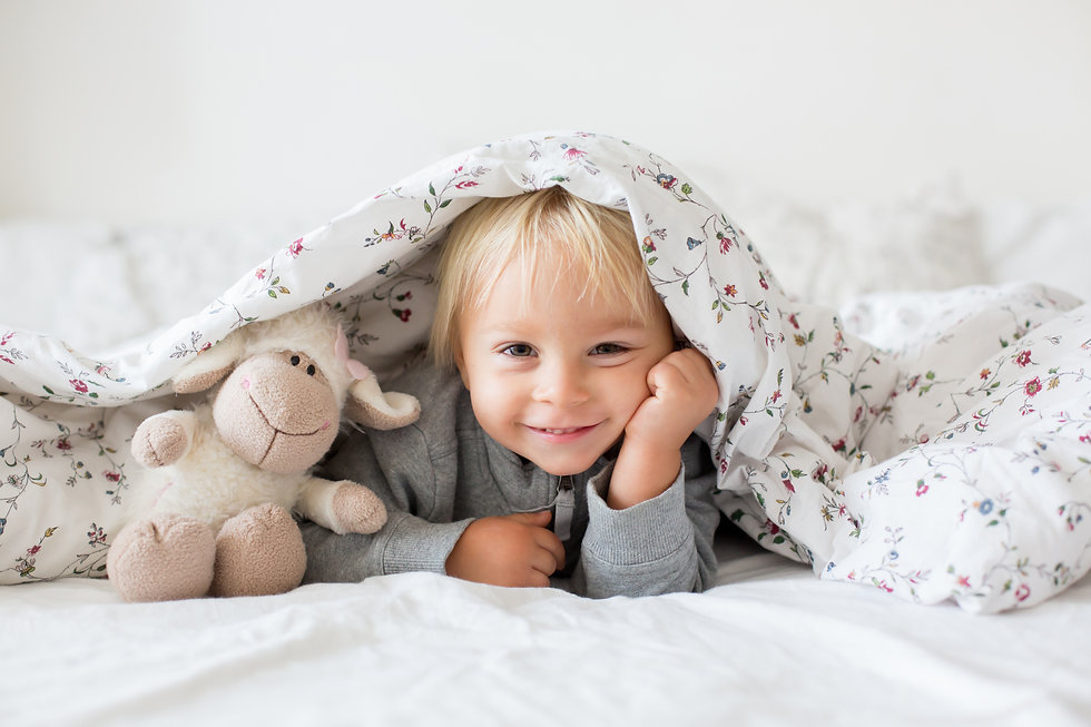 Little toddle boy, playing with teddy to