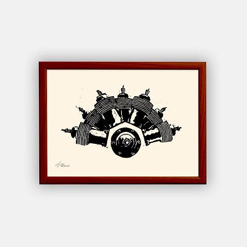Gravure | Moteur REP 1907 | Classique | 21 x 29,7 cm