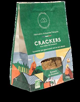 Sachet Crackers aux malts de brasserie Romarin de Provence Atelier Second Life