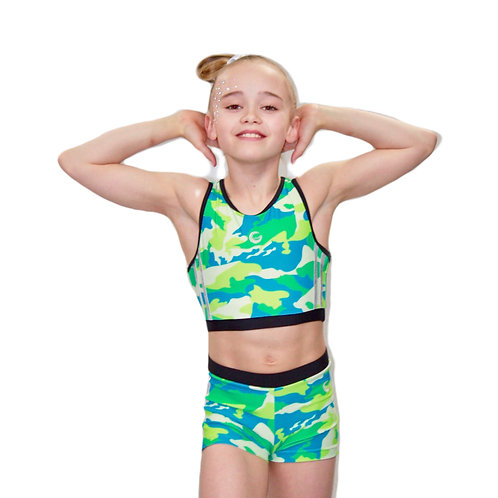 Lime Camouflage Crop Set
