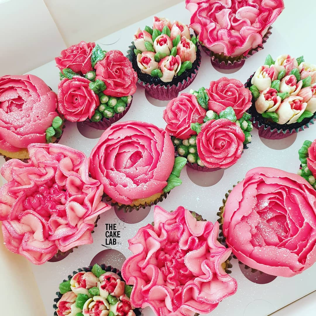 Bright Pink Floral Cupcakes