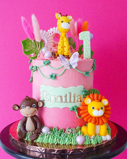Pink Ombre Jungle Animal cake