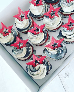 Black, White and Red themed cupcakes